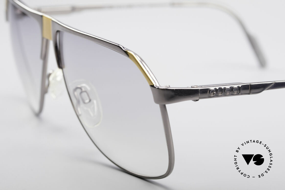 Gucci 1201 80's Luxury Designer Shades, unworn model with light gray tinted sun lenses, Made for Men