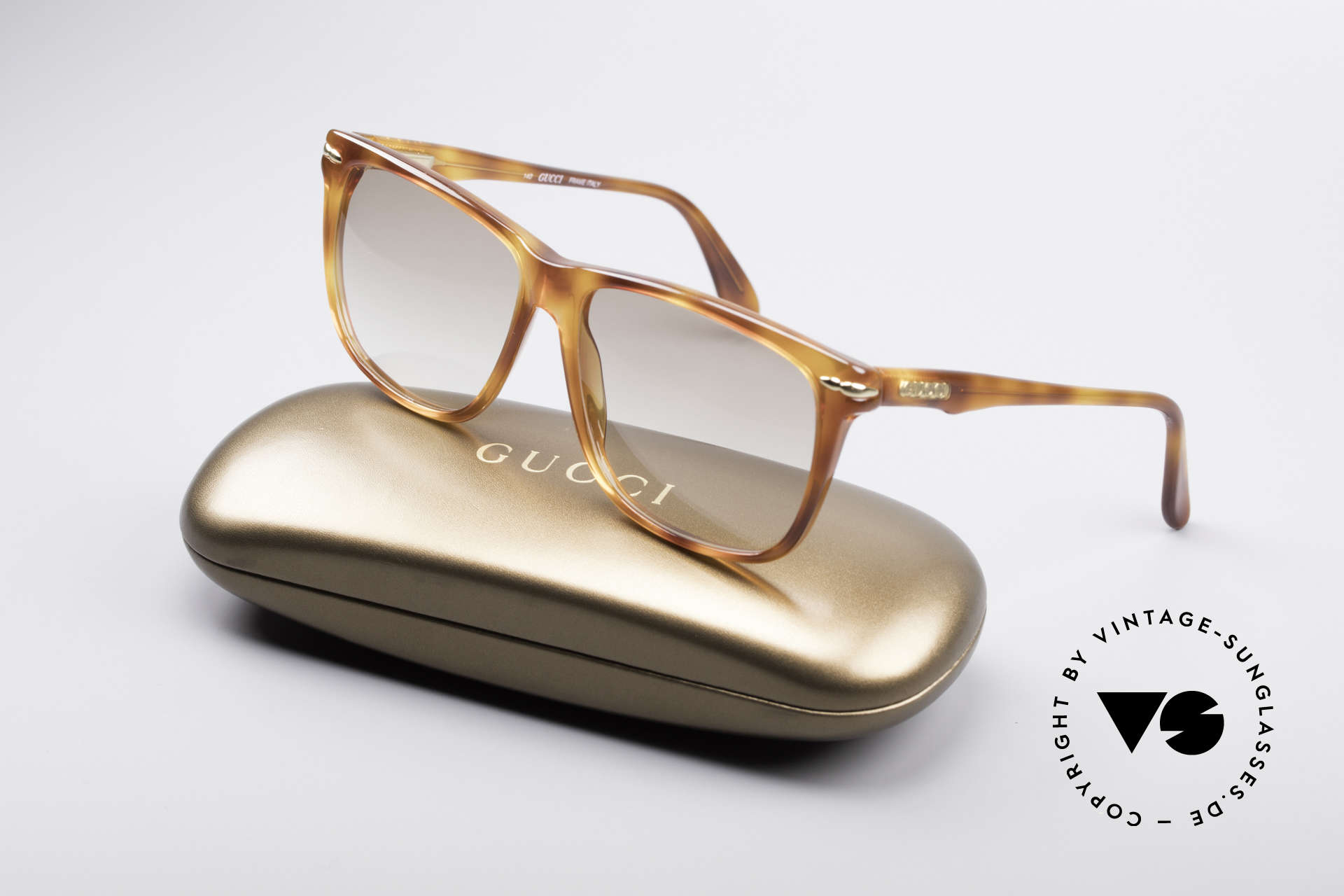 Gucci 1115 Classic 80's Sunglasses, light brown tinted lenses (also wearable at night), Made for Men
