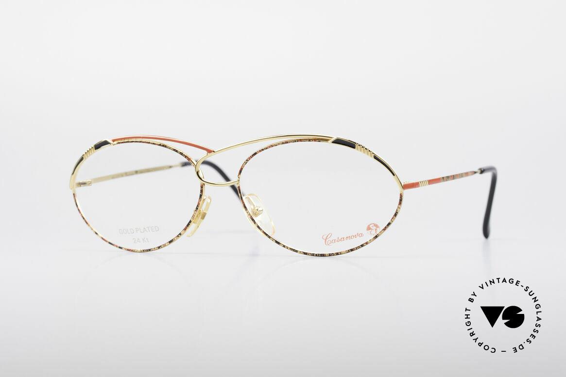 Casanova LC13 24kt Gold Plated Glasses, glamorous CASANOVA eyeglass-frame from around 1985, Made for Women
