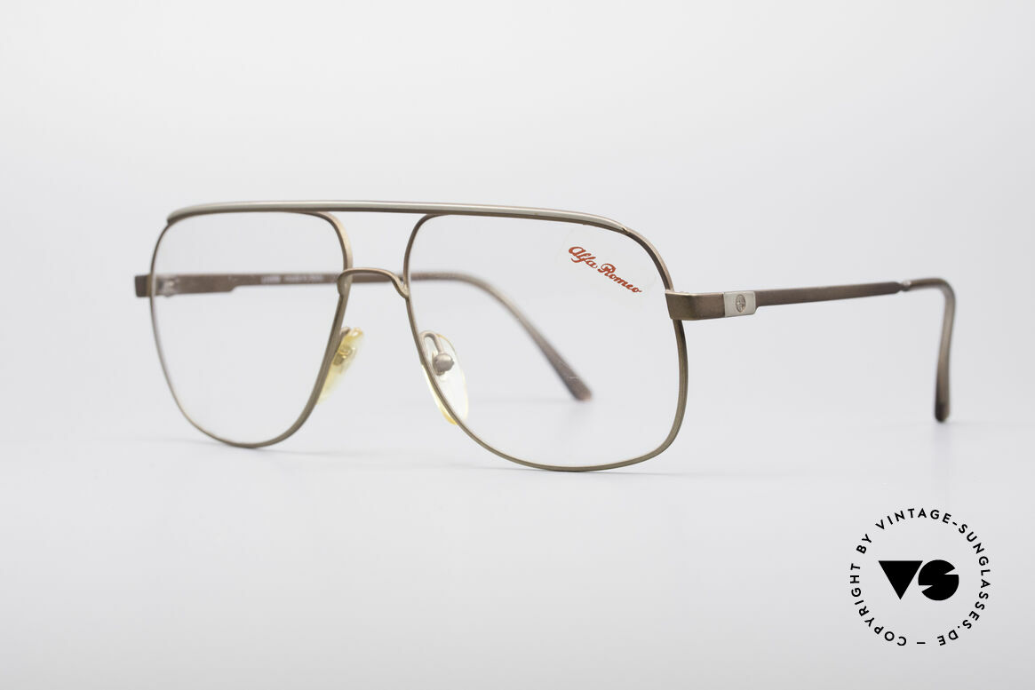 Alfa Romeo 882-21 80's Vintage Glasses, great frame varnishing (a kind of matt-bronze / siver), Made for Men