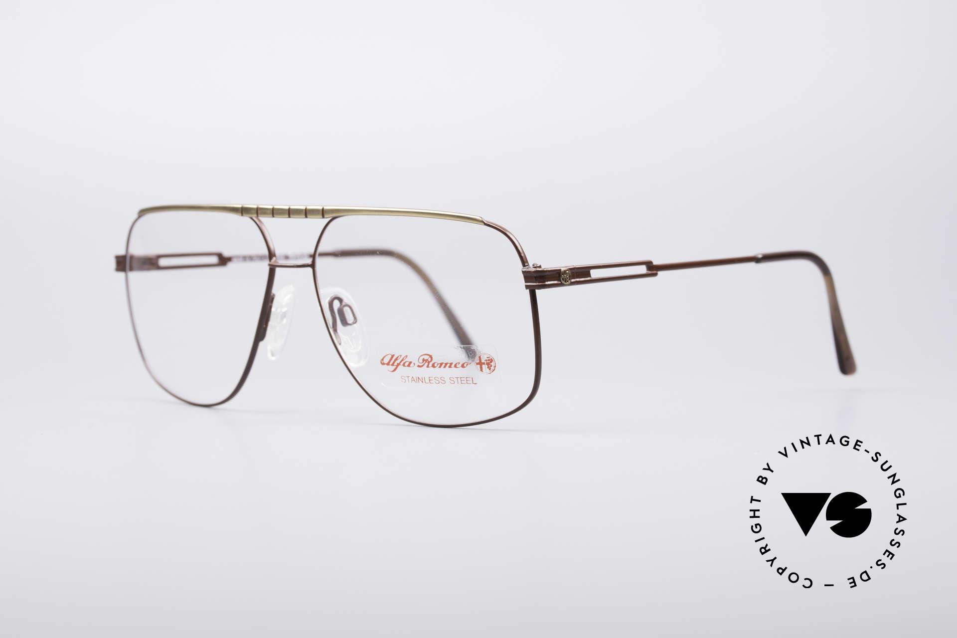 Alfa Romeo 60-252 80's Vintage Glasses, stylish frame varnishing (a kind of auburn with gold), Made for Men