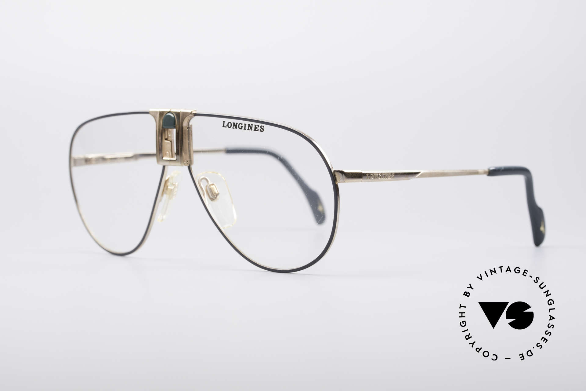 Longines 0154 1980's Aviator Glasses, classic aviator design & timeless coloring (gold/gray), Made for Men