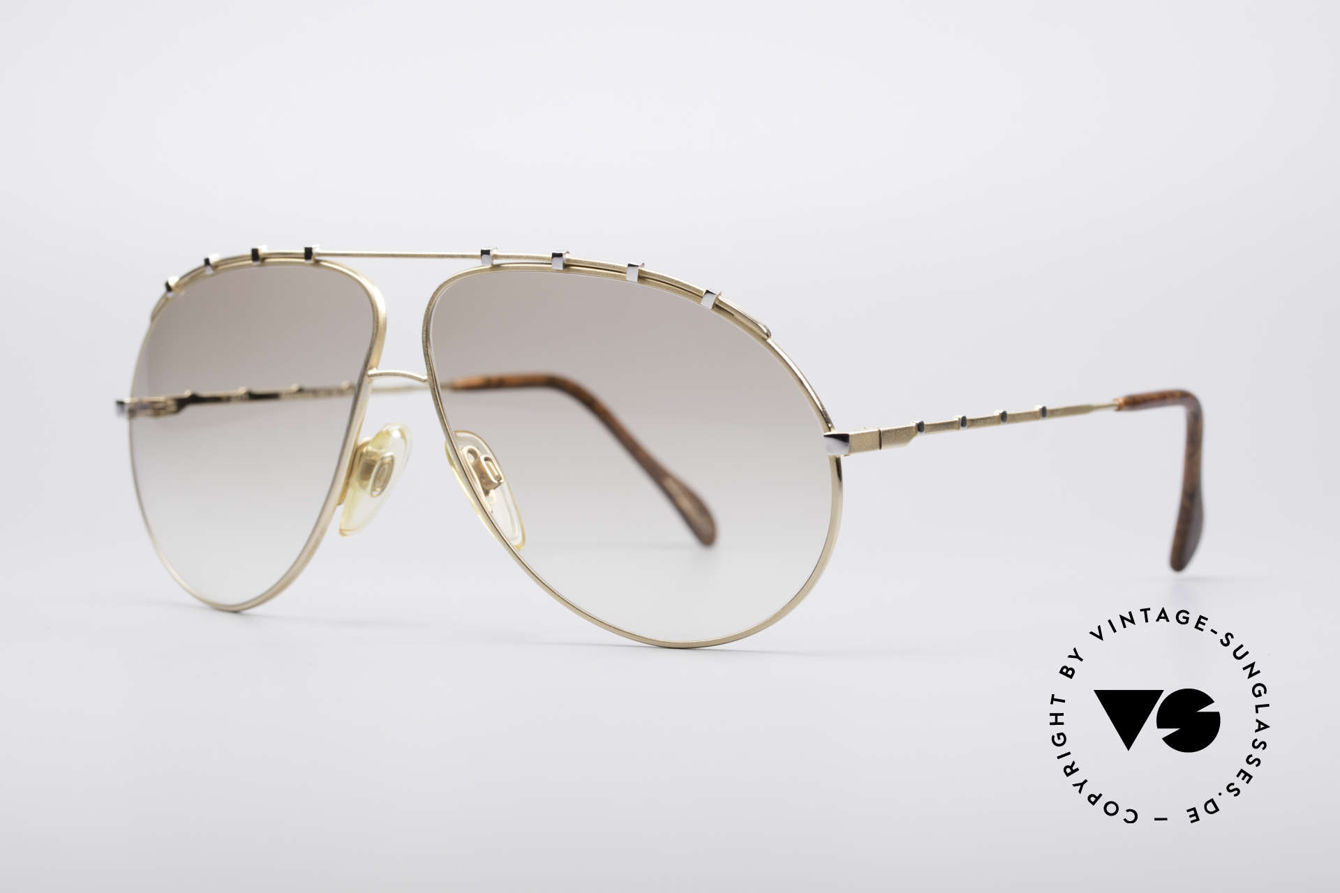 Zollitsch Marquise Rare Vintage Shades, stylish gold designer piece with small silver rivets, Made for Men