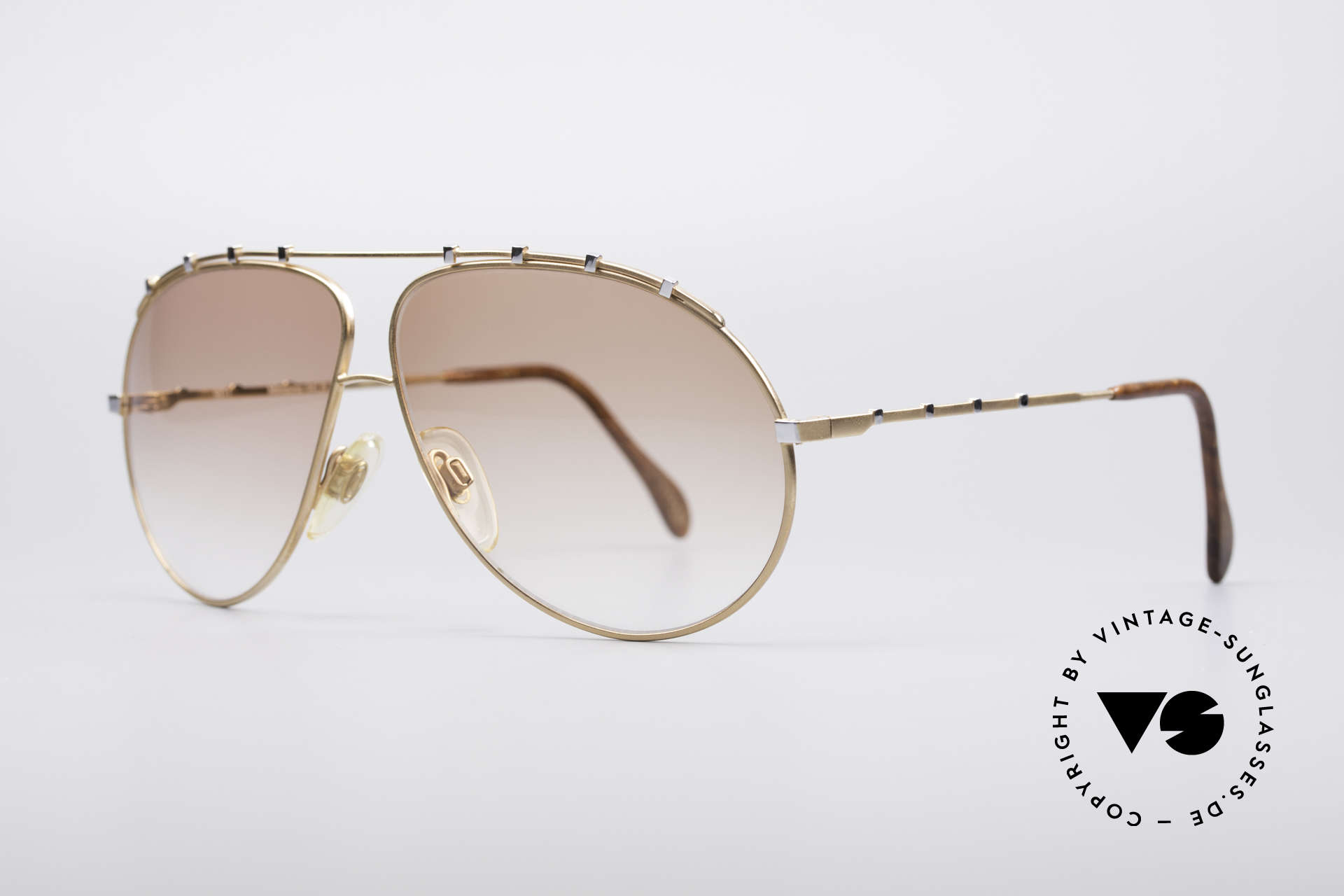 Zollitsch Marquise Rare Vintage Frame, stylish gold designer piece with small silver rivets, Made for Men