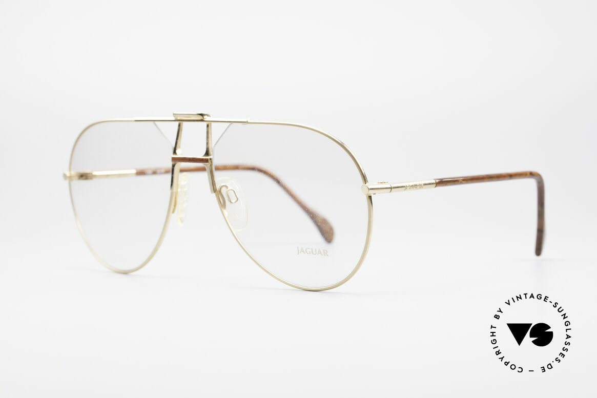 Jaguar 407 80's Luxury Accessory, gold frame with root-wood temples and bridge, Made for Men