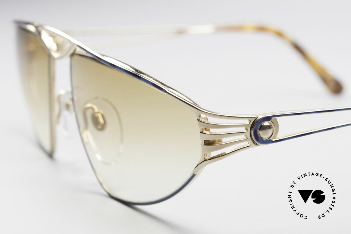 St. Moritz 4410 90's Luxury Sunglasses, gold-plated frame with costly pattern in turquois/blue, Made for Women