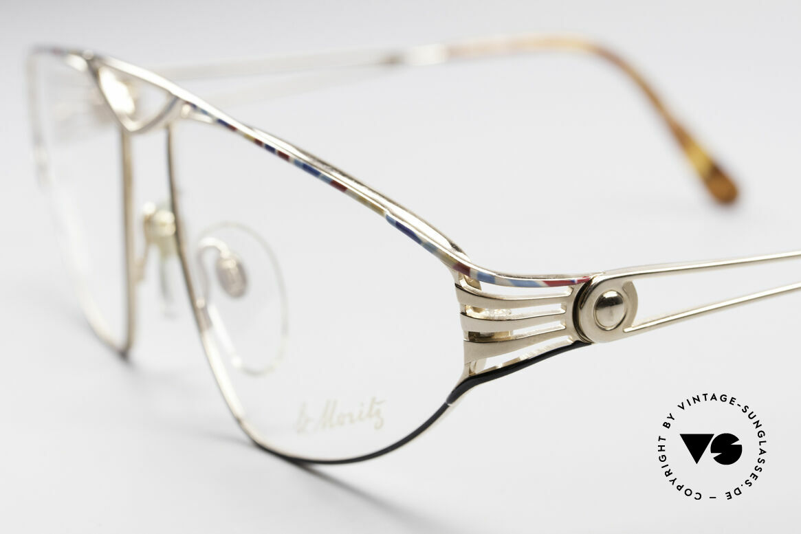St. Moritz 4410 90's Luxury Eyeglasses, gold-plated frame with costly black-multicolor pattern, Made for Women
