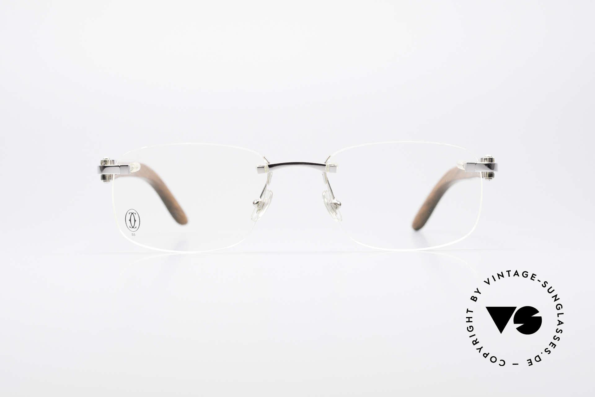 Glasses Cartier Paglia Luxury Rimless Wood Frame | Vintage Sunglasses