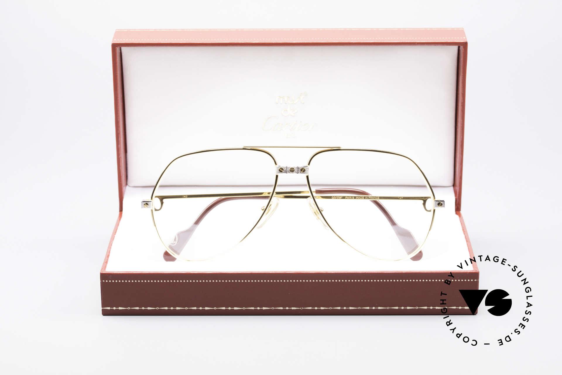 Cartier Vendome Santos - M James Bond Glasses Original, luxury frame (22ct gold-plated) with full orig. packing!, Made for Men