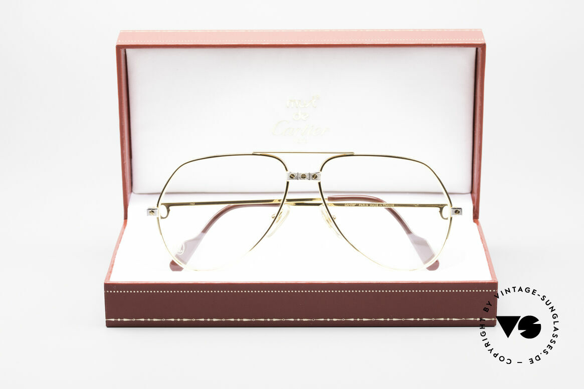 Cartier Vendome Santos - M James Bond Glasses Original, luxury frame (22ct gold-plated) with full orig. packing!, Made for Men