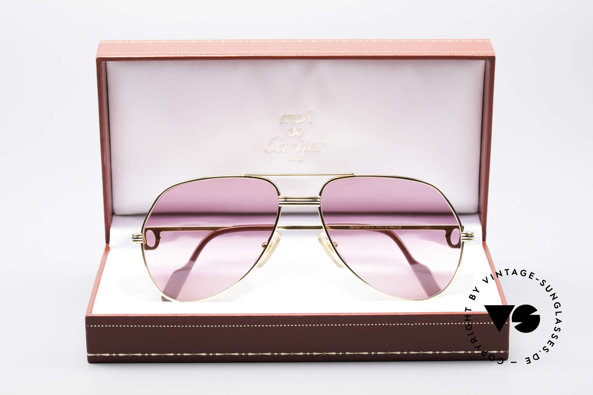Cartier Vendome LC - M Michael Douglas 80's Shades, luxury frame (22ct) with new pink lenses & orig. packing, Made for Men and Women