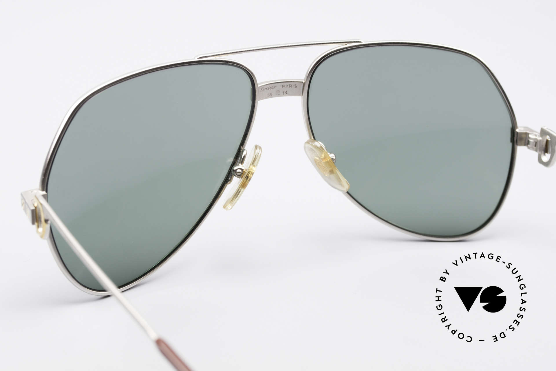 Cartier Vendome Santos - M Rare Luxury Palladium Finish, gray/green sun lenses (100% UV prot.) with Cartier logo, Made for Men