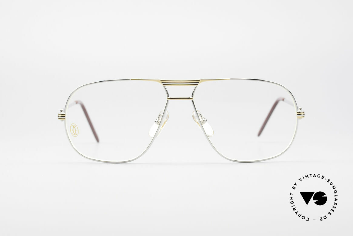 Cartier Tank - L Rare Platinum Finish, orig. Cartier glasses from 1988 in LARGE size 62°14, 140, Made for Men