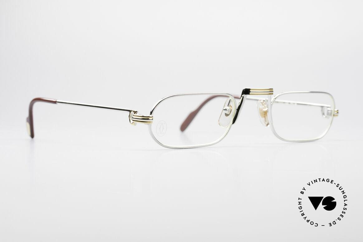 Cartier Demi Lune LC Platinum Reading Glasses, this pair with Louis Cartier decor: medium size 50-24, 140, Made for Men