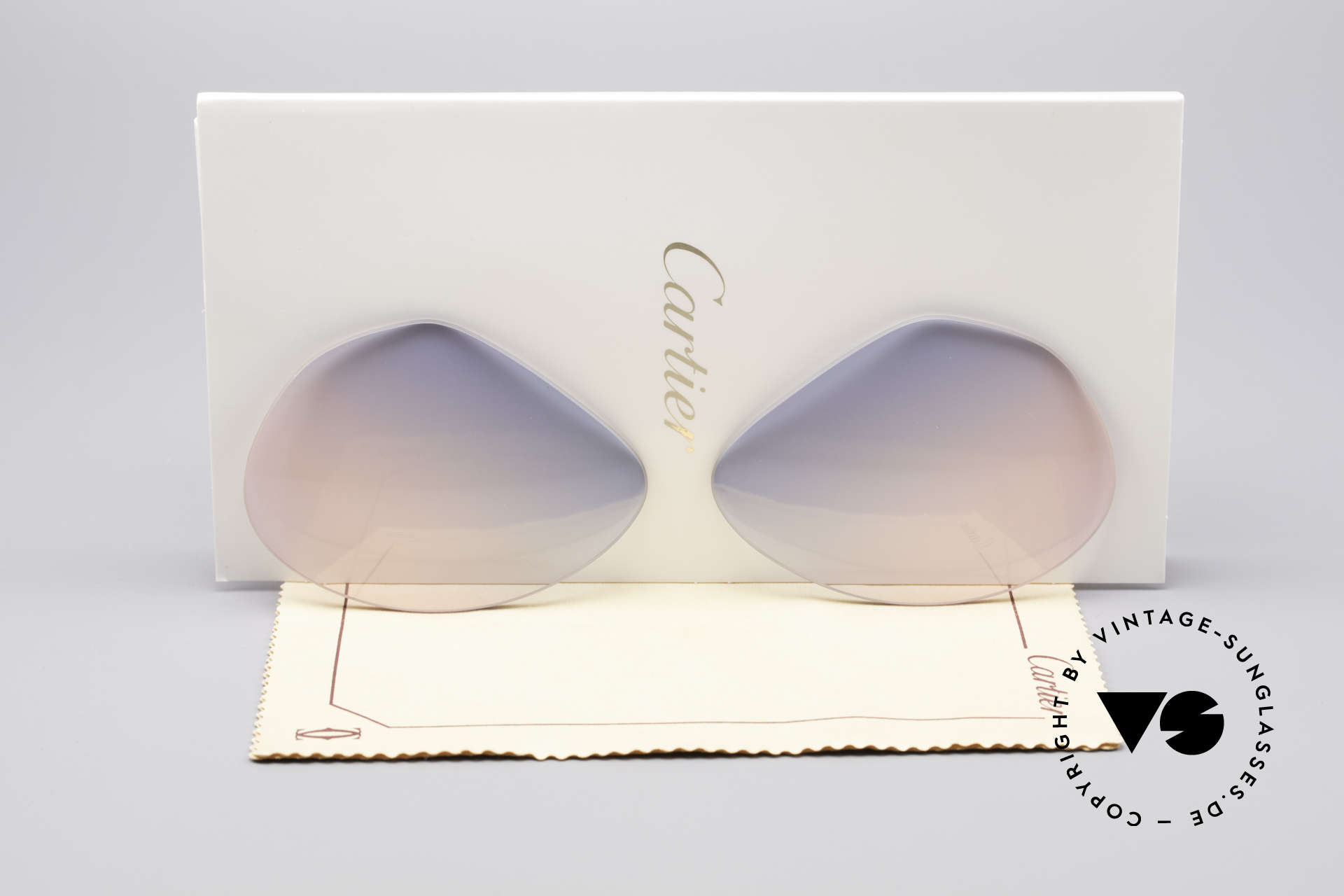 Cartier Vendome Lenses - L Sun Lenses Blue Pink Gradient, replacement lenses for Cartier mod. Vendome 62mm size, Made for Men
