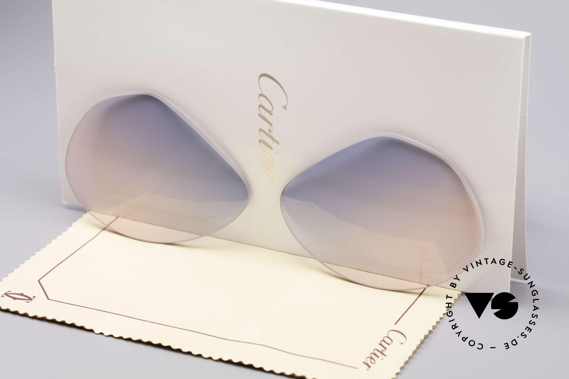 Cartier Vendome Lenses - L Sun Lenses Blue Pink Gradient, new CR39 UV400 plastic lenses (for 100% UV protection), Made for Men