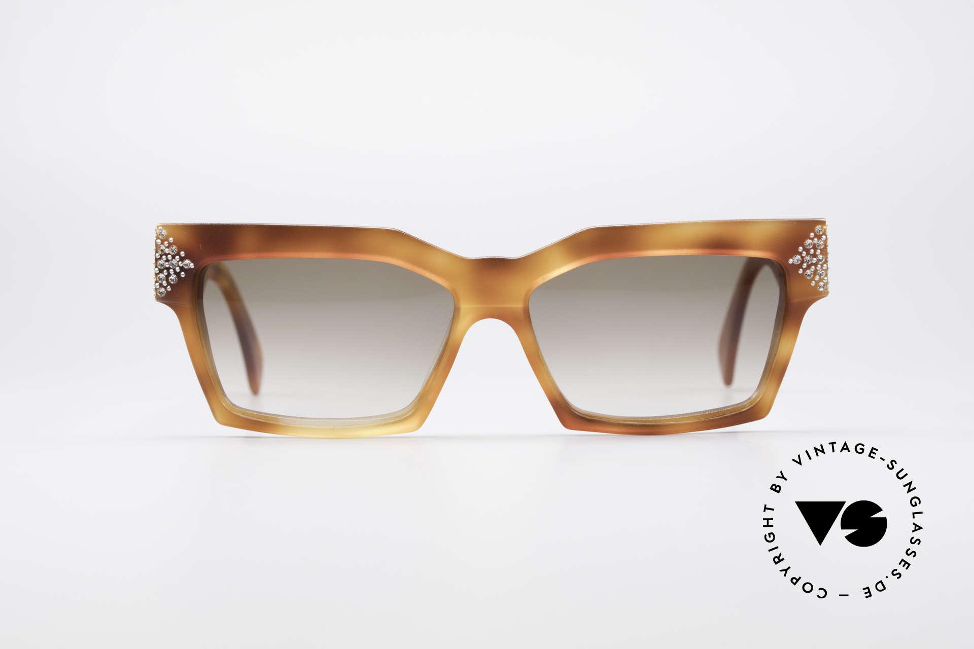 Alain Mikli 318 / 053 80's Gem Designer Sunglasses, the model looks like the shades of famous movie stars, Made for Women