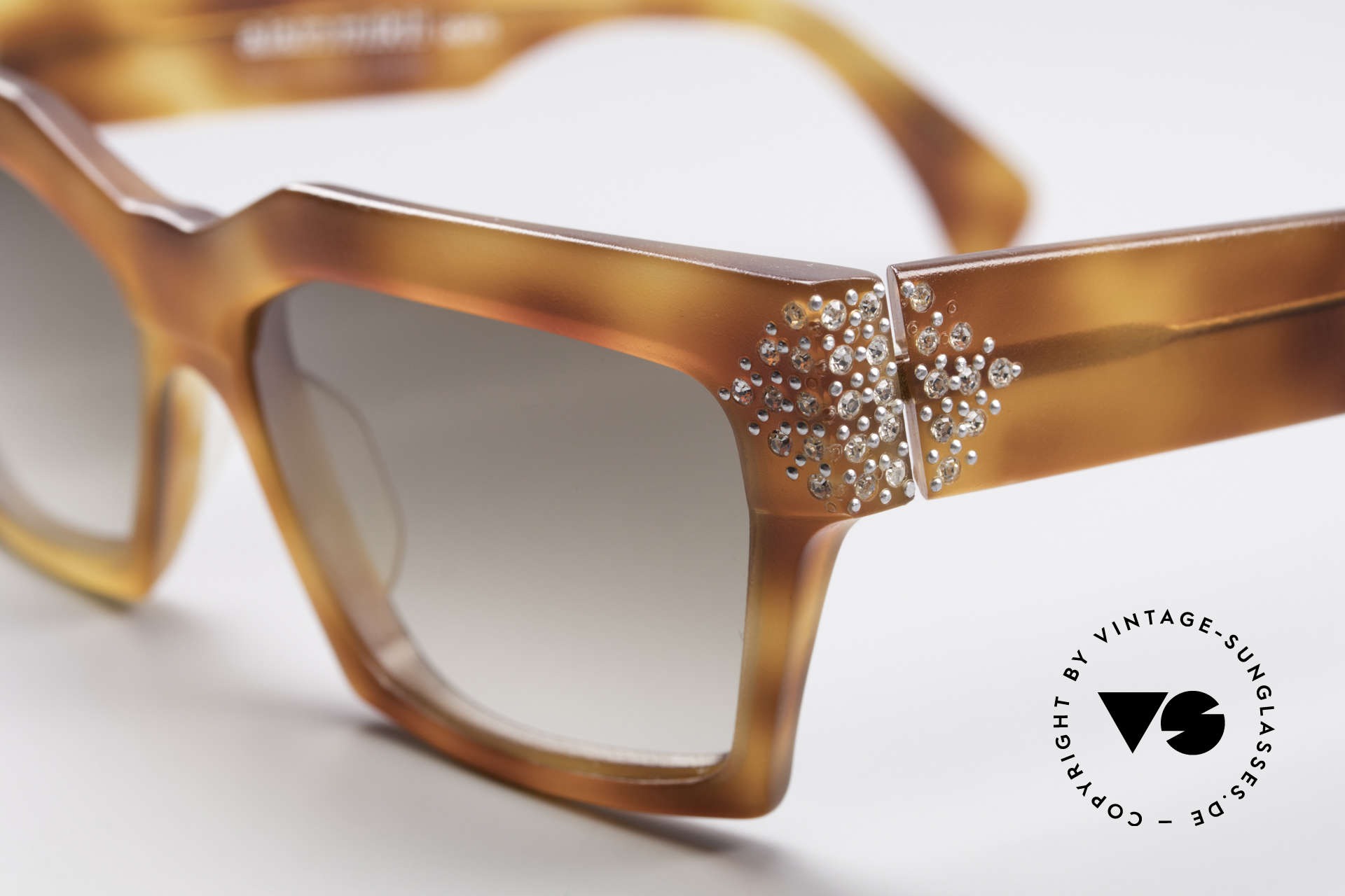 Alain Mikli 318 / 053 80's Gem Designer Sunglasses, hand made frame is decorated with small rhinestones!, Made for Women