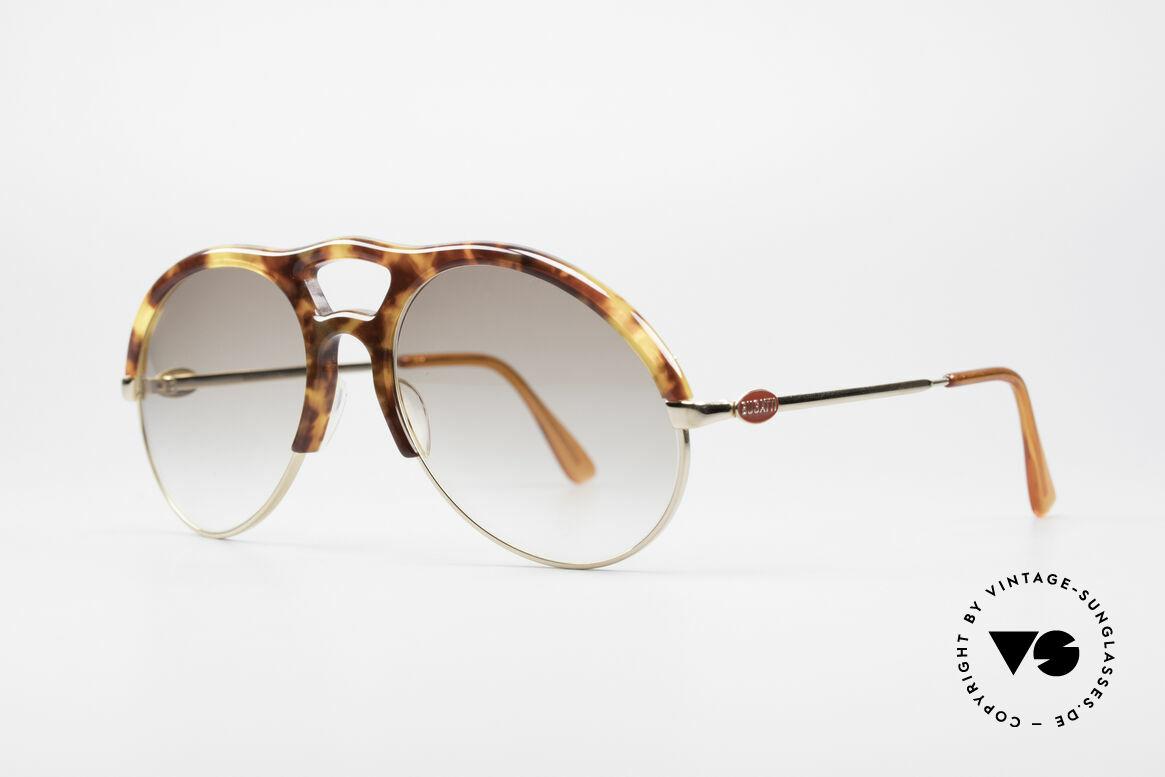 Bugatti 64900 Tortoise Optic 80's Glasses, sun lenses with a brown-gradient tint; 100% UV prot., Made for Men