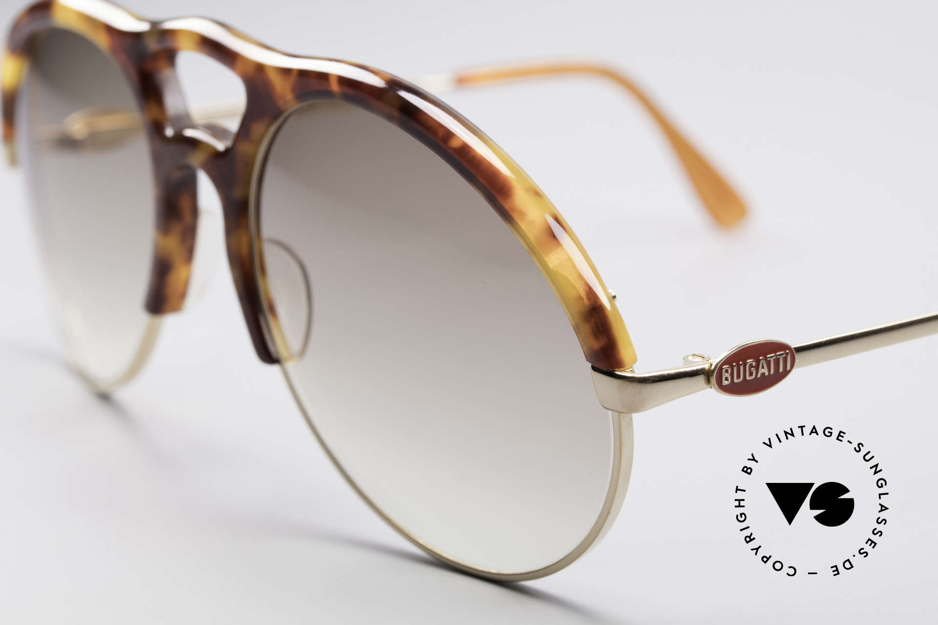 Bugatti 64900 Tortoise Optic 80's Glasses, sought-after collector's item with gold-plated metal, Made for Men