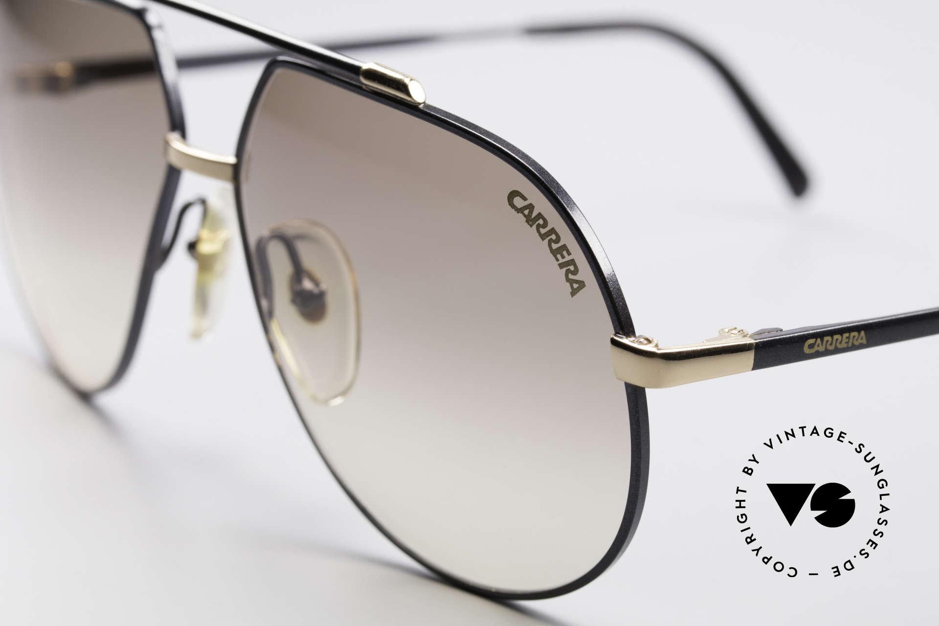 Carrera 5369 90's Men's Sunglasses, black/gold frame finish with brown-gradient lenses, Made for Men