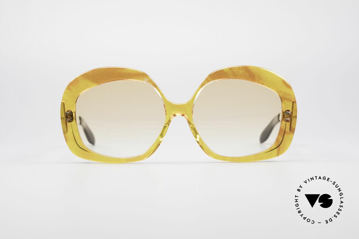 Pierre Cardin 734 XXL 70's Sunglasses, eccentric french design; dreamlike orange coloring, Made for Women