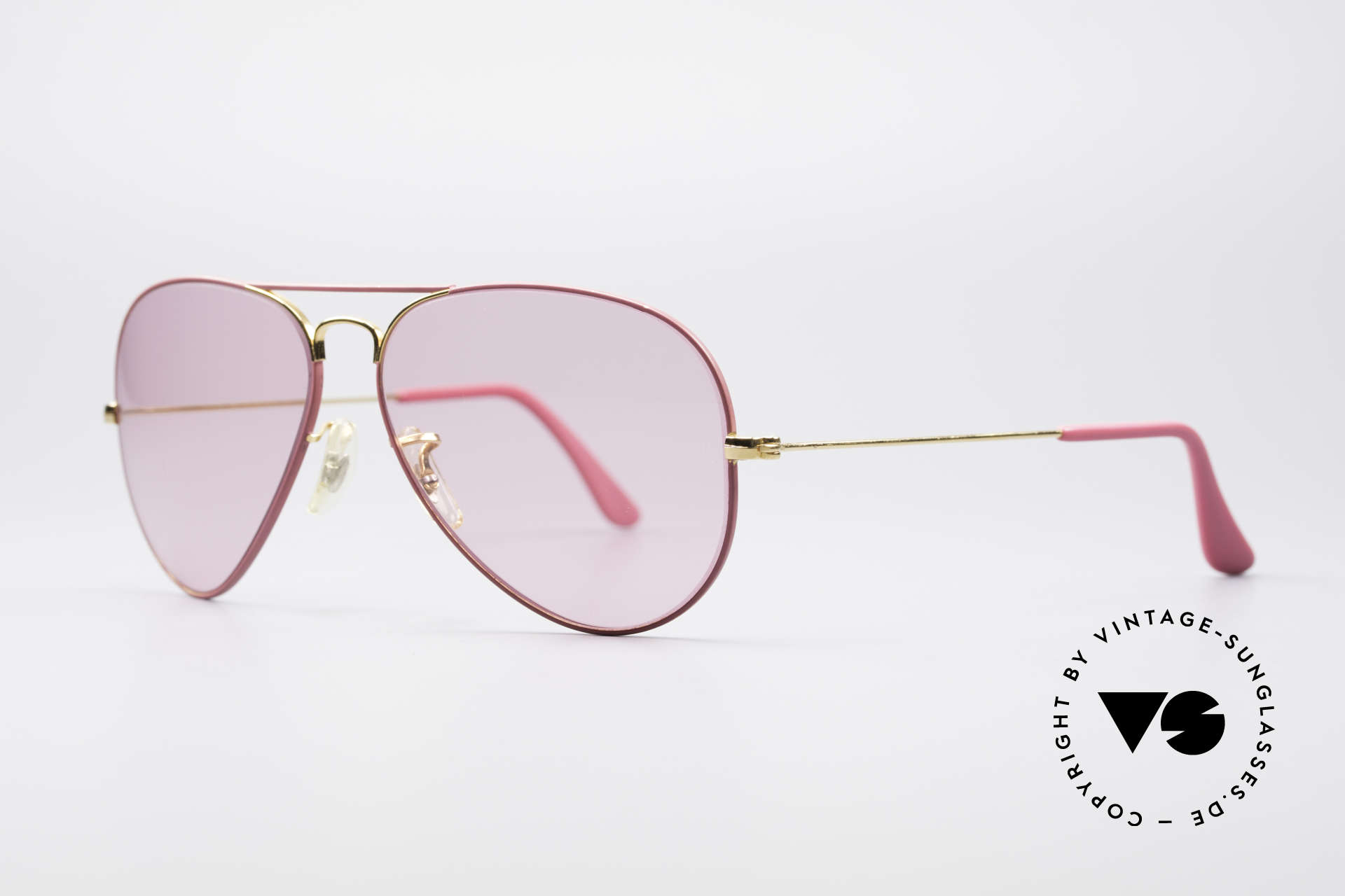 Ray Ban Large Metal Pink Ladies Sunglasses, pink tinted B&L mineral lenses; 100% UV protect., Made for Men