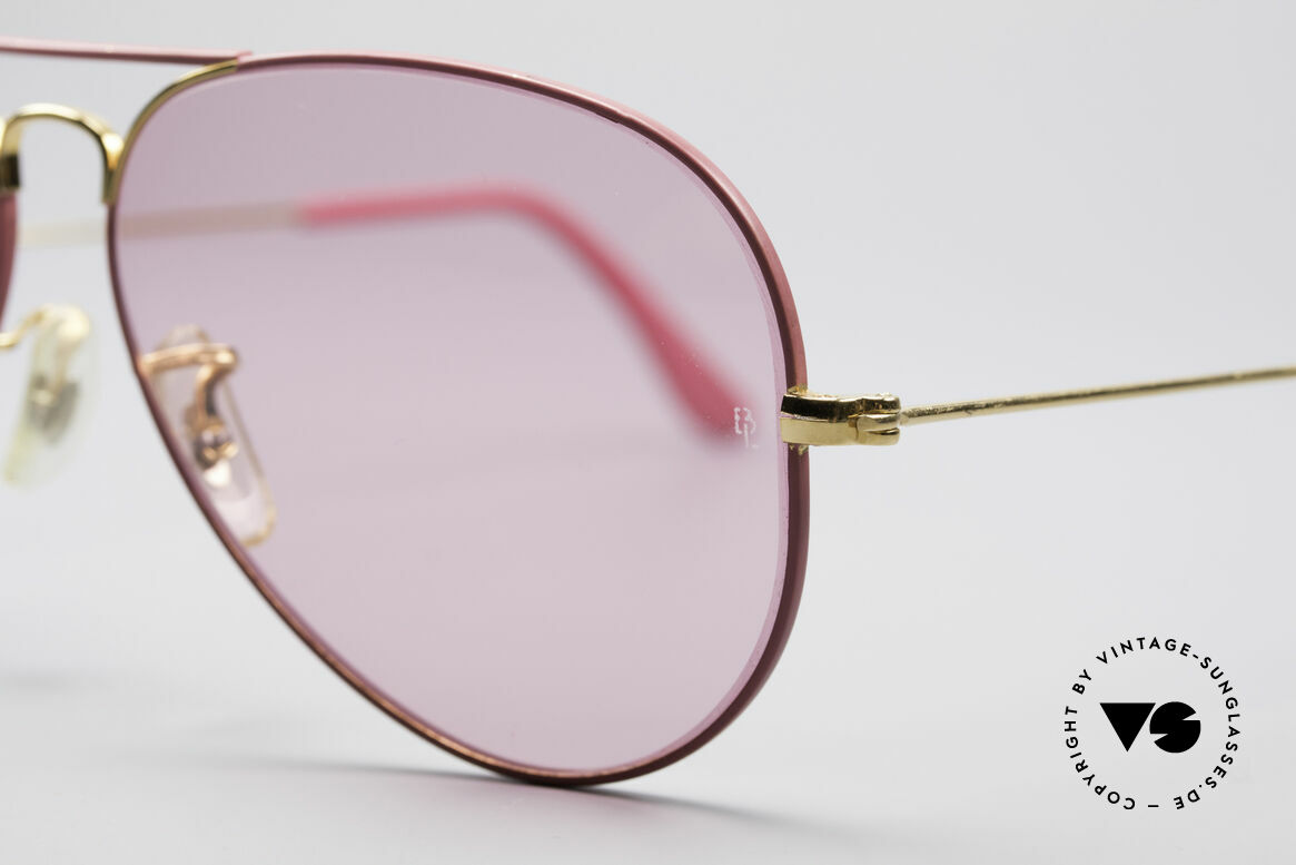 Ray Ban Large Metal Pink Ladies Sunglasses, never worn (like all our vintage Ray Ban eyewear), Made for Men