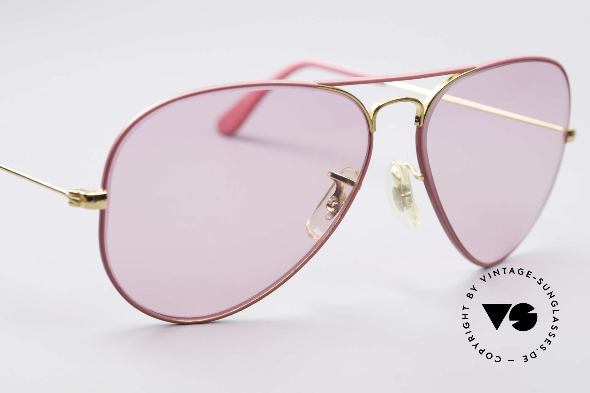 Ray Ban Large Metal Pink Ladies Sunglasses, NO RETRO sunglasses, but an old USA-ORIGINAL, Made for Men