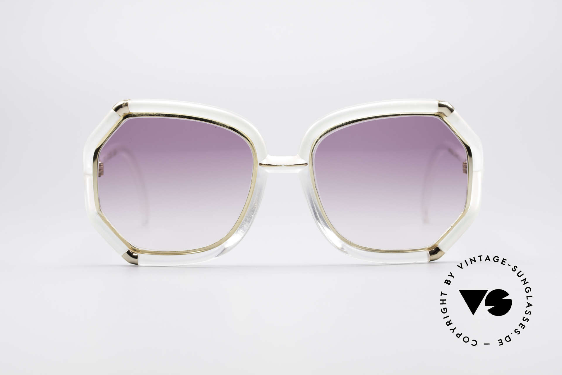 Ted Lapidus B08 70's Designer Sunglasses, light pink frame with golden appliqué - just fancy!!, Made for Women