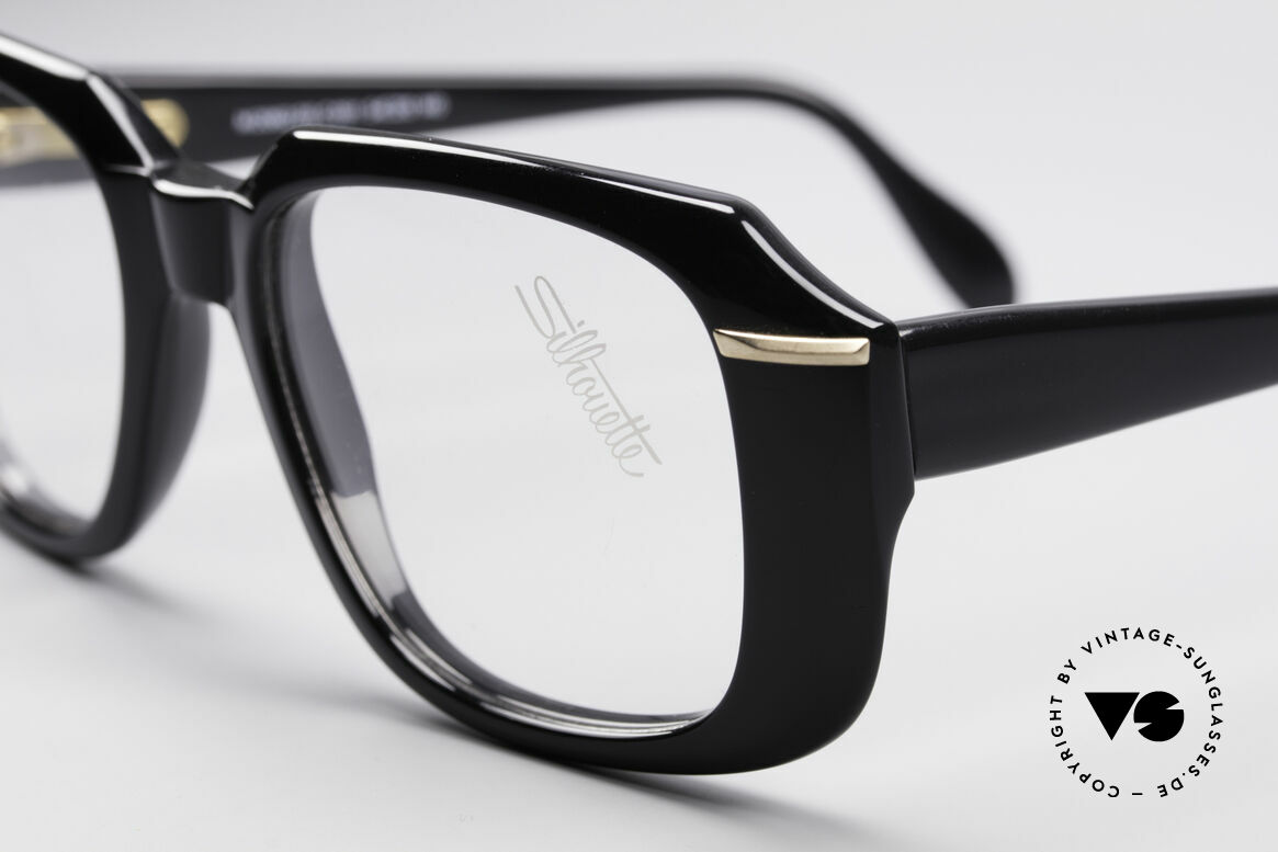 Silhouette M2062 Old School Eyeglasses, timeless coloring (black/gold) & premium quality, Made for Men