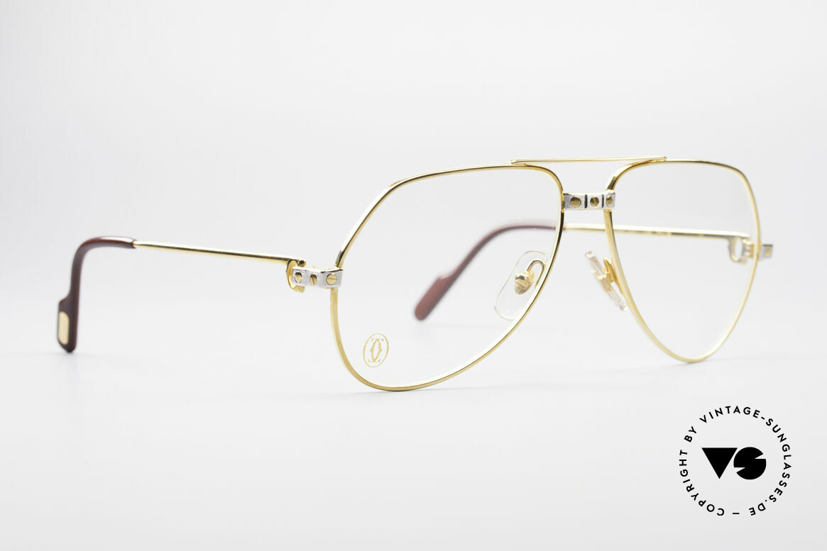 Cartier Vendome Santos - S James Bond Eyeglasses 1980's, Santos Decor (with 3 screws) in SMALL size 56-14, 130, Made for Men and Women