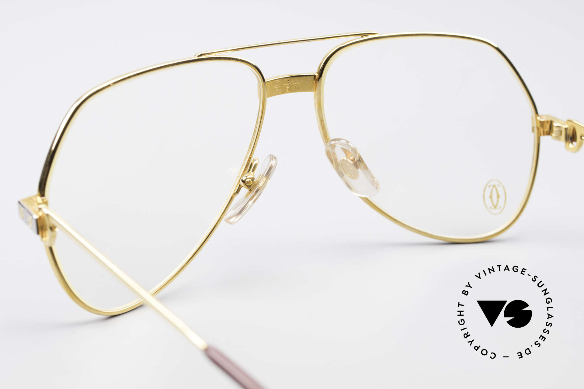 Cartier Vendome Santos - S James Bond Eyeglasses 1980's, luxury frame (22ct gold-plated) with full orig. packing!, Made for Men and Women