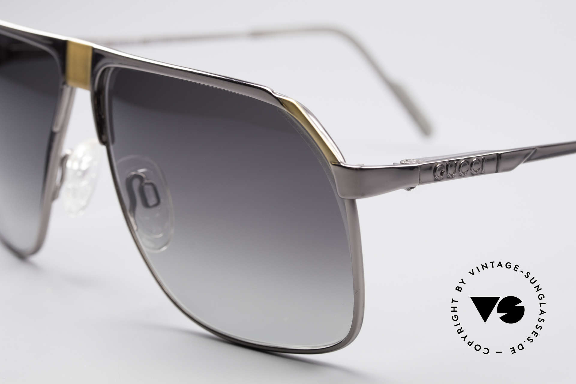 Gucci 1200 80's Luxury Sunglasses, unworn with gray-gradient sun lenses; 100% UV, Made for Men
