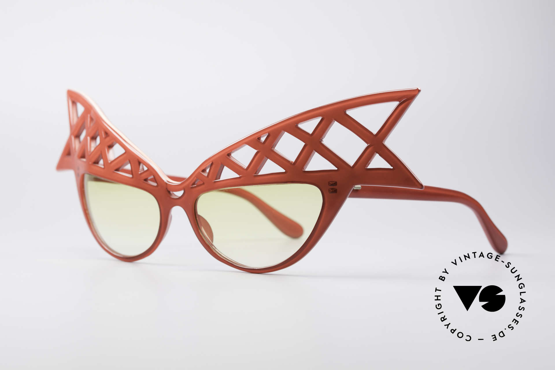 Alain Mikli WINGS 80's Haute Couture Sunglasses, gorgeous red frame; wings-shaped; pure extravagance, Made for Women
