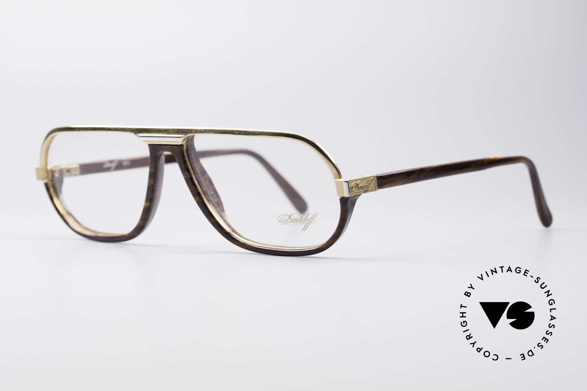 Davidoff 300 Small Men's Vintage Glasses, gold with noble design elements in root wood pattern, Made for Men
