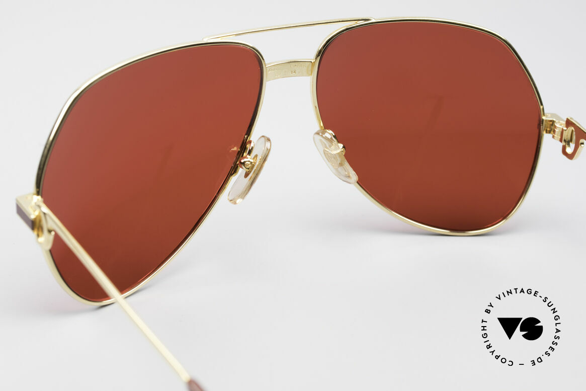 Cartier Vendome Laque - L Luxury 80's Aviator Shades, with new CR39 plastic lenses in gaudy 3D-red; just fancy, Made for Men