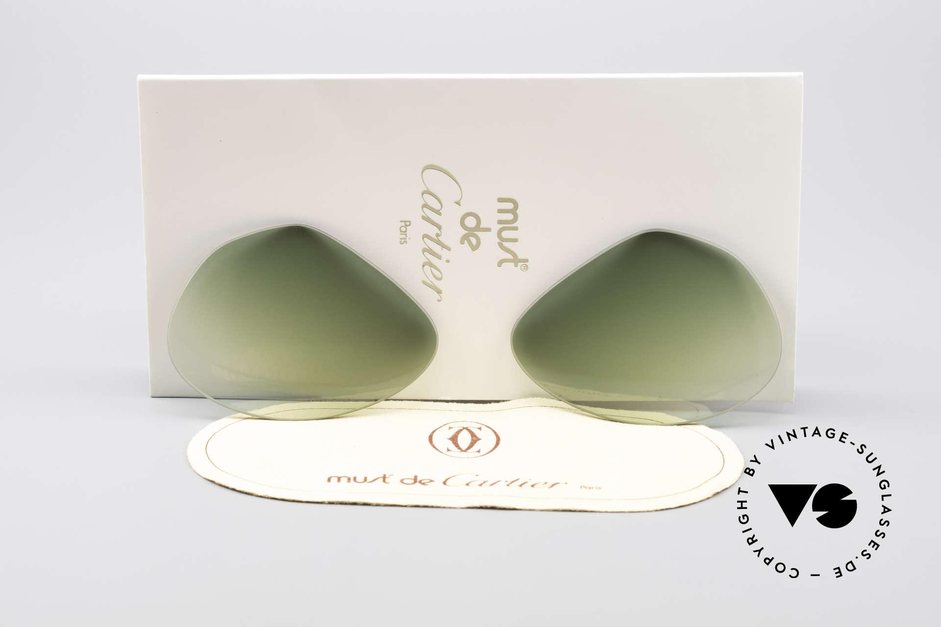 Cartier Vendome Lenses - L Green Gradient Sun Lenses, replacement lenses for Cartier mod. Vendome 62mm size, Made for Men