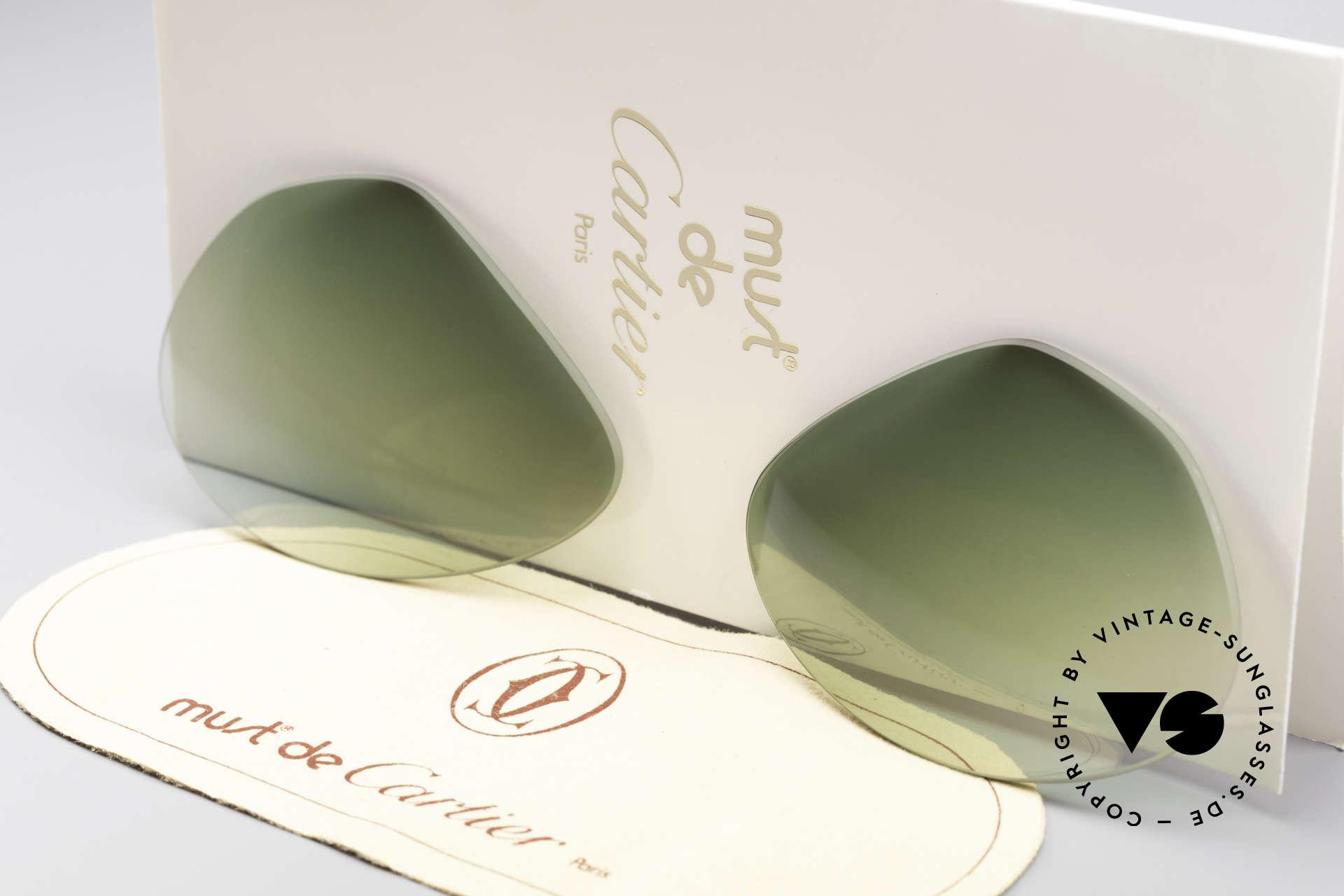 Cartier Vendome Lenses - L Green Gradient Sun Lenses, new CR39 UV400 plastic lenses (for 100% UV protection), Made for Men