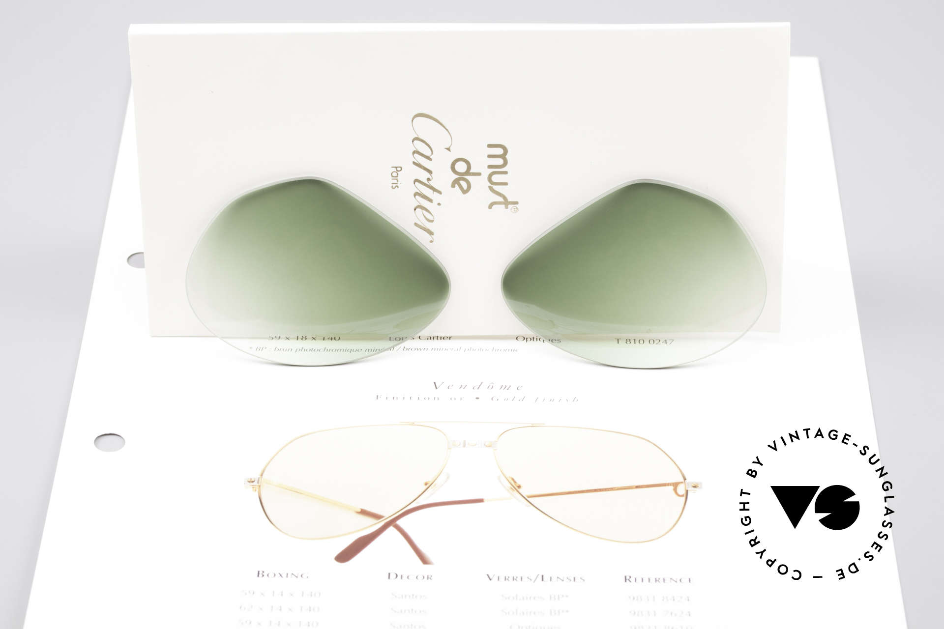 Cartier Vendome Lenses - L Green Gradient Sun Lenses, elegant green-gradient tint (wearable at day and night), Made for Men