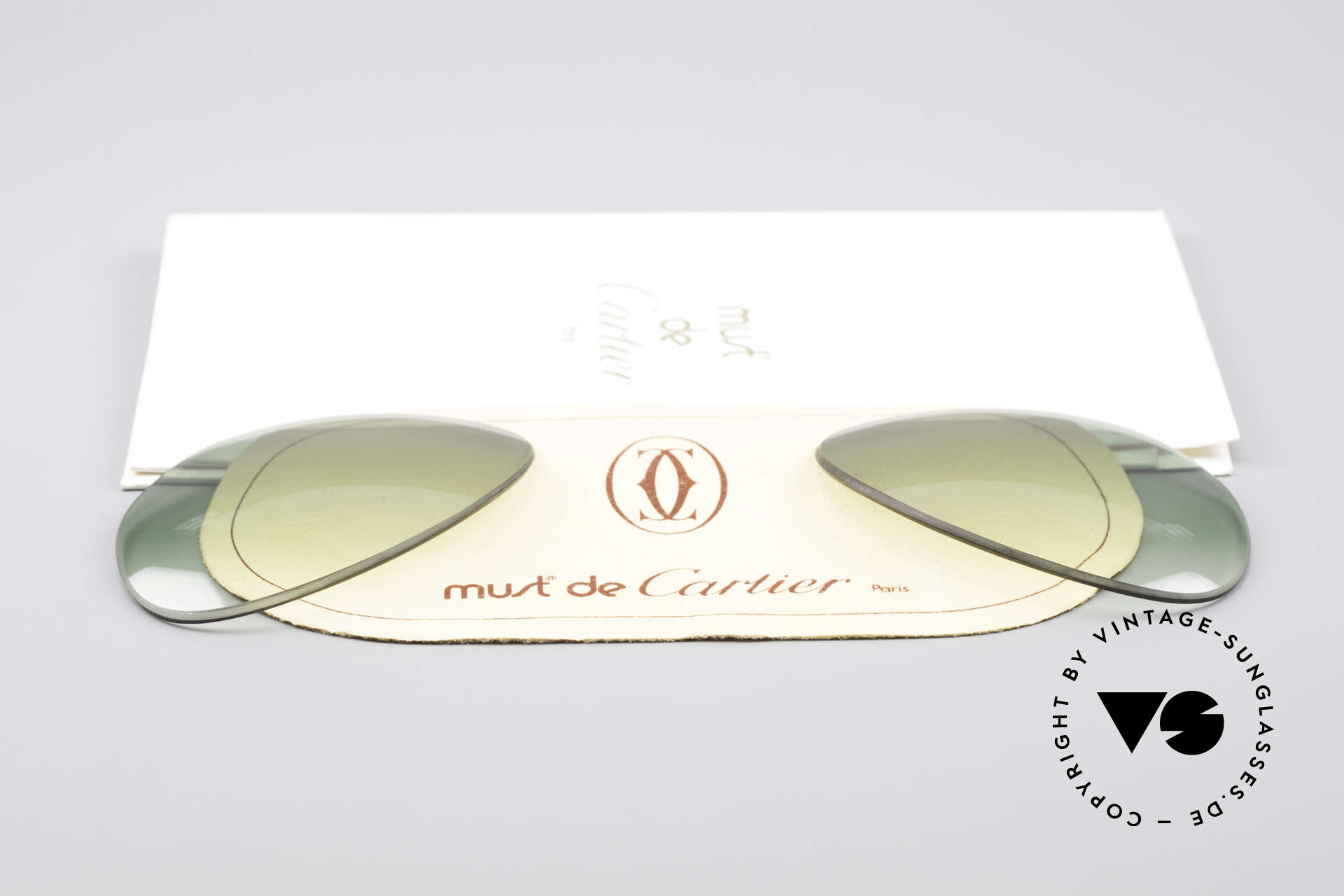 Cartier Vendome Lenses - L Green Gradient Sun Lenses, made by our optician (thus, brand-new and scratch-free), Made for Men