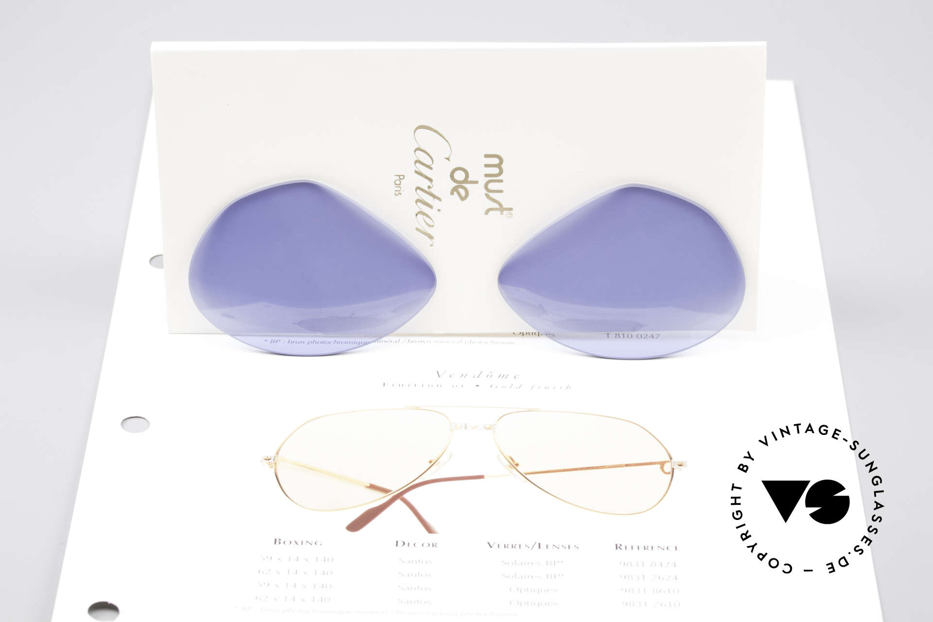 Cartier Vendome Lenses - L Navy Blue Sun Lenses, unicolor tinted in navy-blue (rare & really eye-catching), Made for Men