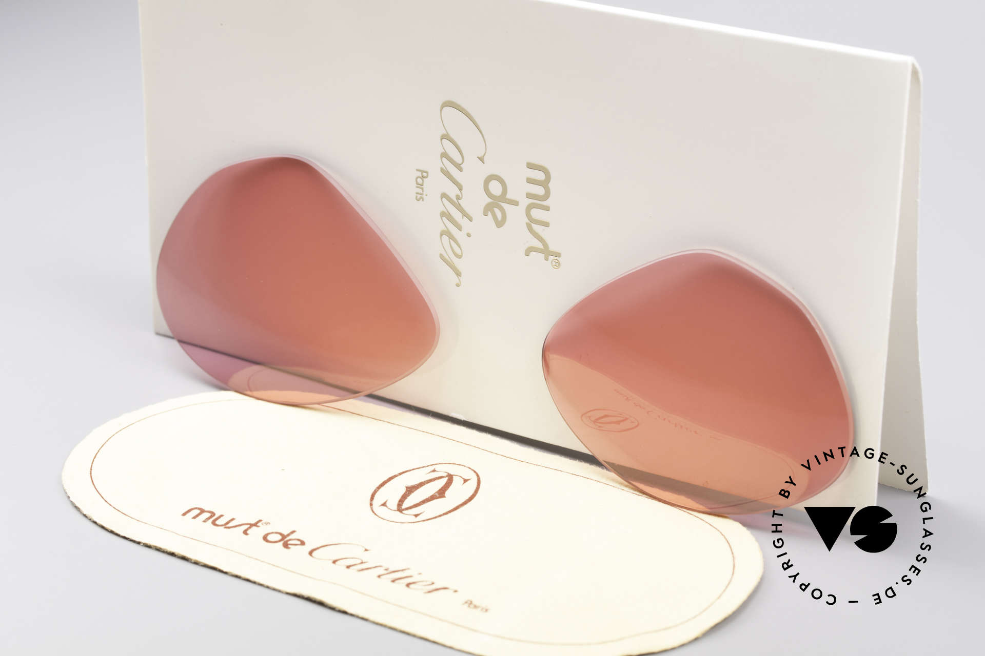 Cartier Vendome Lenses - M Pink Sun Lenses, new CR39 UV400 plastic lenses (for 100% UV protection), Made for Men and Women