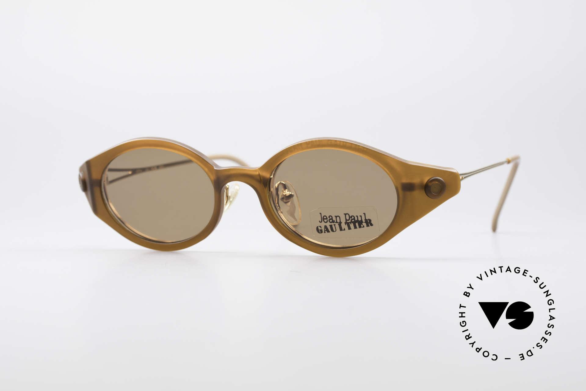 Jean Paul Gaultier 56-7202 Oval Frame With Sun Clip, orig. vintage Jean Paul Gaultier designer sunglasses, Made for Men and Women