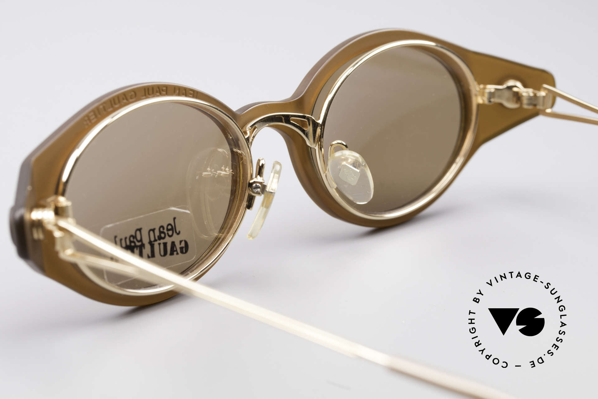 Jean Paul Gaultier 56-7202 Oval Frame With Sun Clip, unworn NOS (like all our vintage 90's designer specs), Made for Men and Women