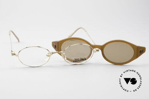 Jean Paul Gaultier 56-7202 Oval Frame With Sun Clip, NO retro glasses; a rare Jean Paul Gaultier ORIGINAL, Made for Men and Women