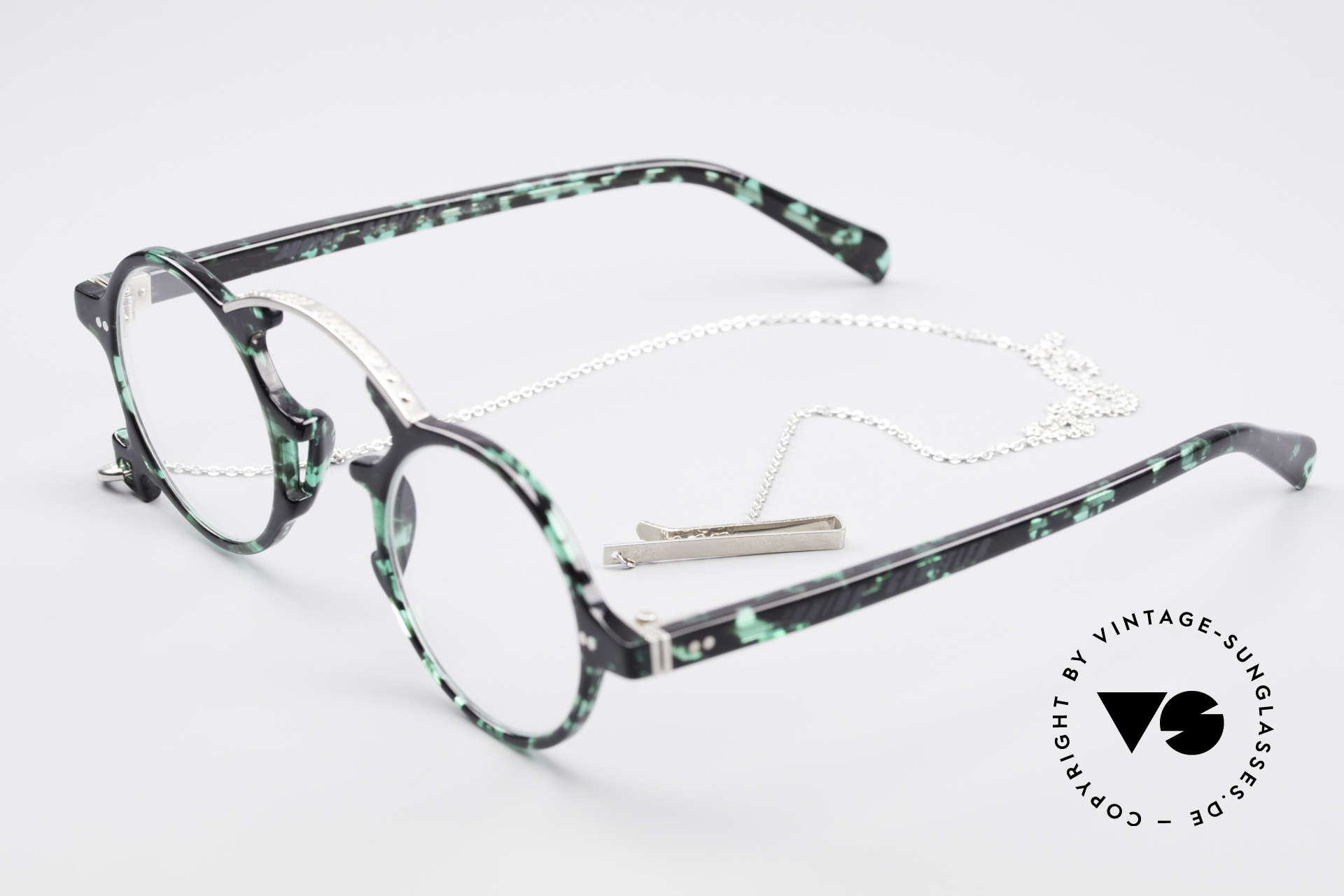 Jean Paul Gaultier 58-0271 90's Steampunk Eyeglasses, with a removable metal chain as fancy gimmick, Made for Men and Women