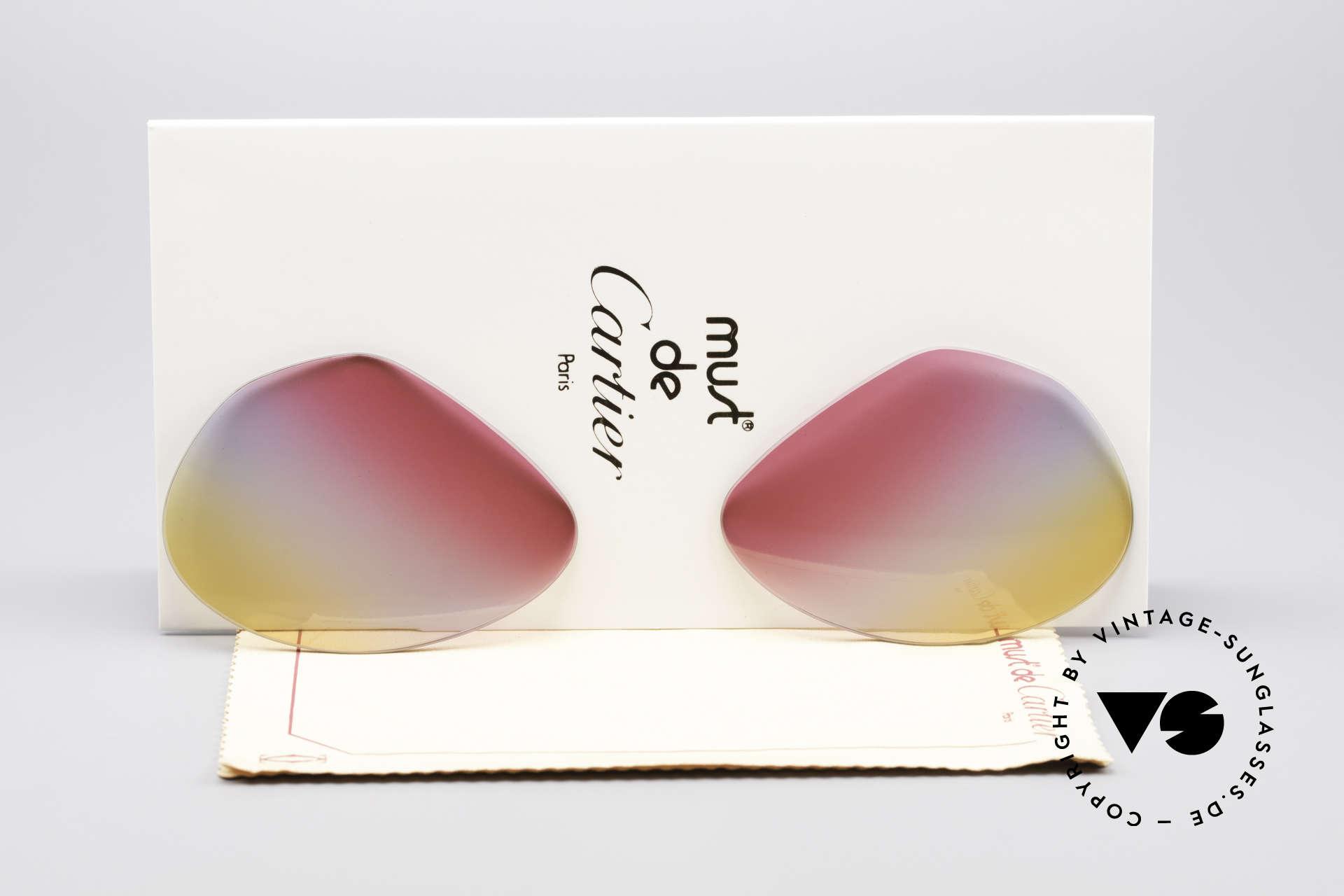 Cartier Vendome Lenses - L Tricolored Sunrise Lenses, replacement lenses for Cartier mod. Vendome 62mm size, Made for Men and Women