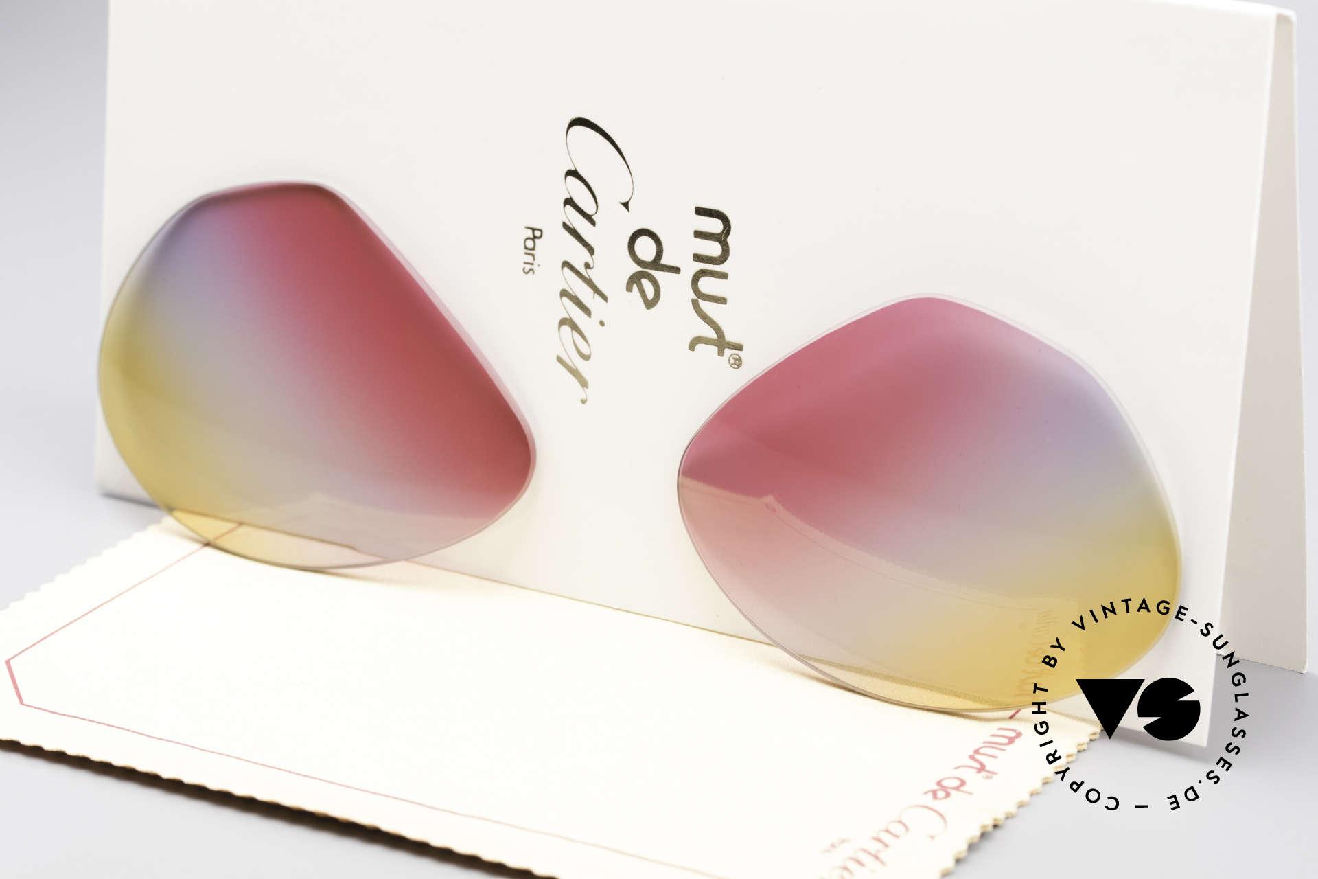 Cartier Vendome Lenses - L Tricolored Sunrise Lenses, new CR39 UV400 plastic lenses (for 100% UV protection), Made for Men and Women