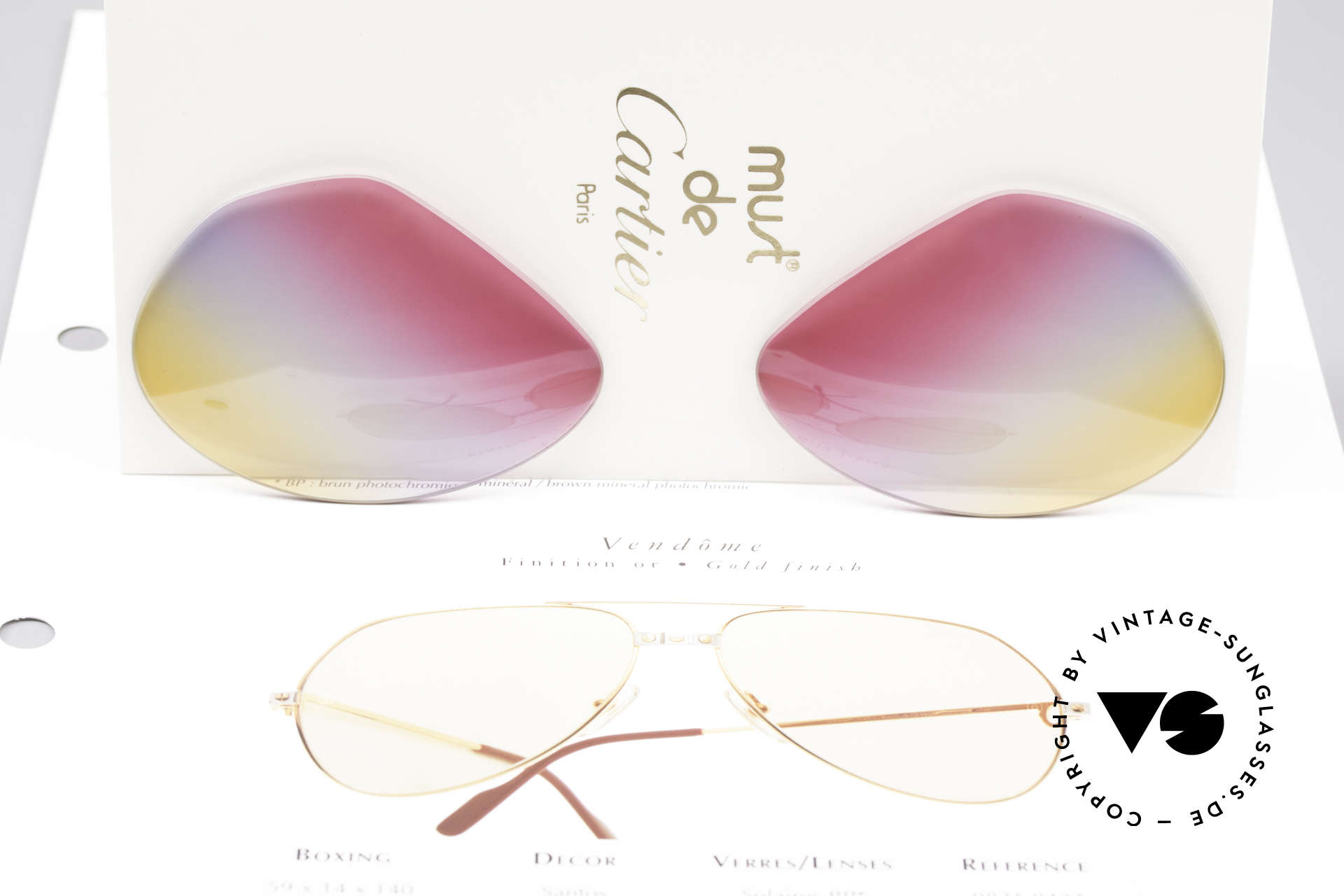 Cartier Vendome Lenses - L Tricolored Sunrise Lenses, TRICOLOR gradient: the triple tint looks like a sunrise, Made for Men and Women